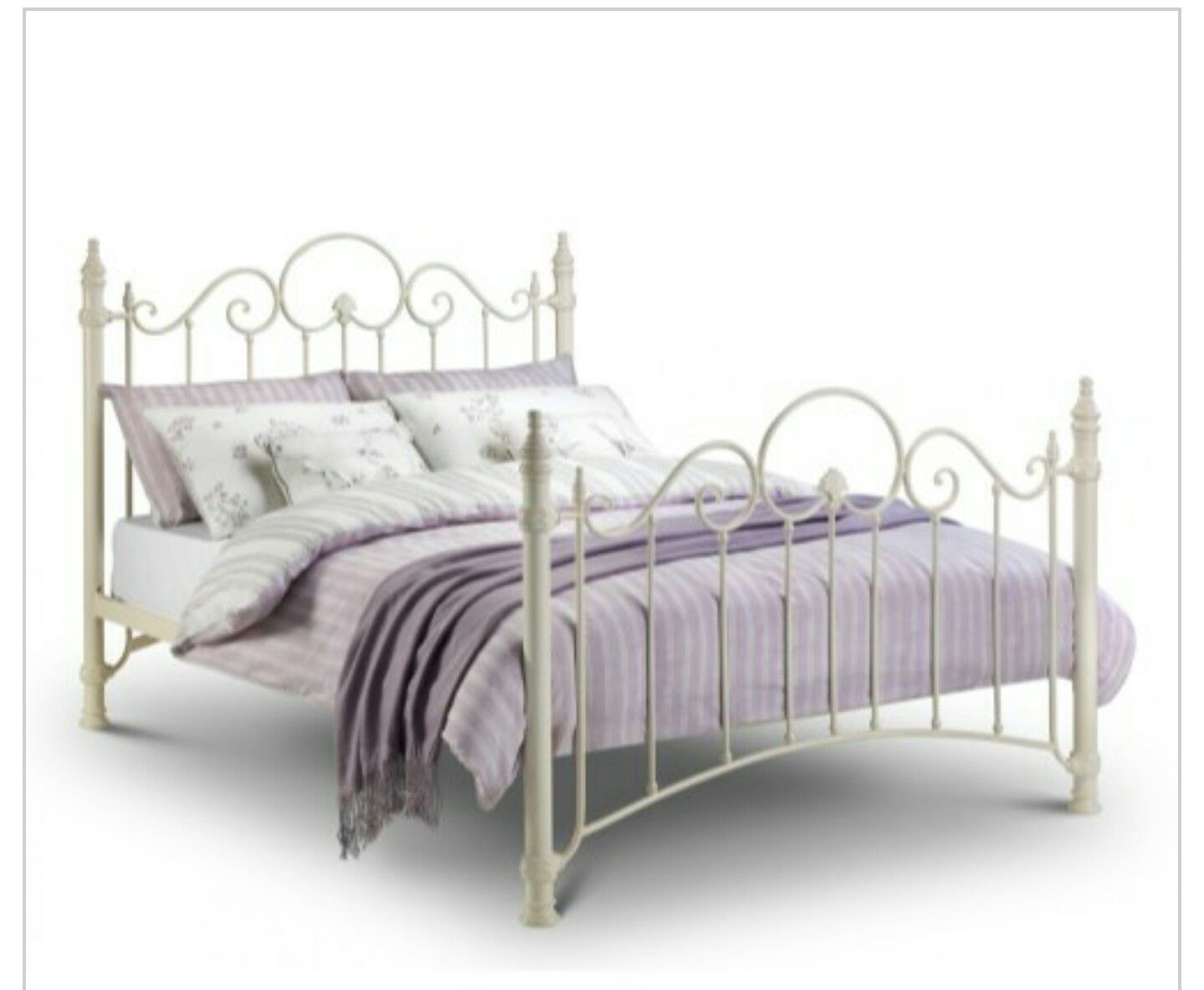 White Double Bed Frame Single Metal