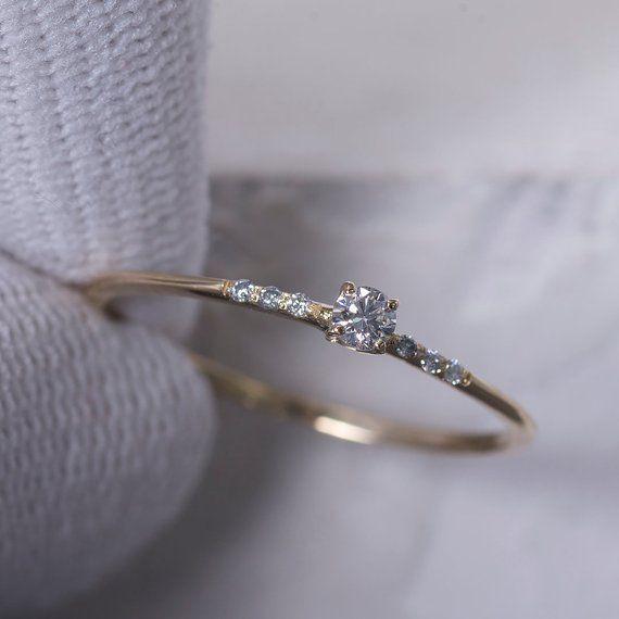 14K Gold Ring, Diamant-Verlobungsring, Solitare Diamantring für Frauen, Verlobungsring für Frauen, #weddingrings