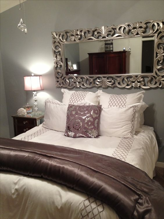Home Decor Bedroom Nice Use Of The Mirror To Take Away From No Headboard Bed Grey Silver Plum