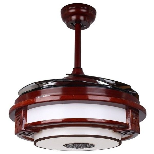 quaint led ceiling fan with foldable blades chrome and rosewood liked on polyvore featuring home ho light black industrial