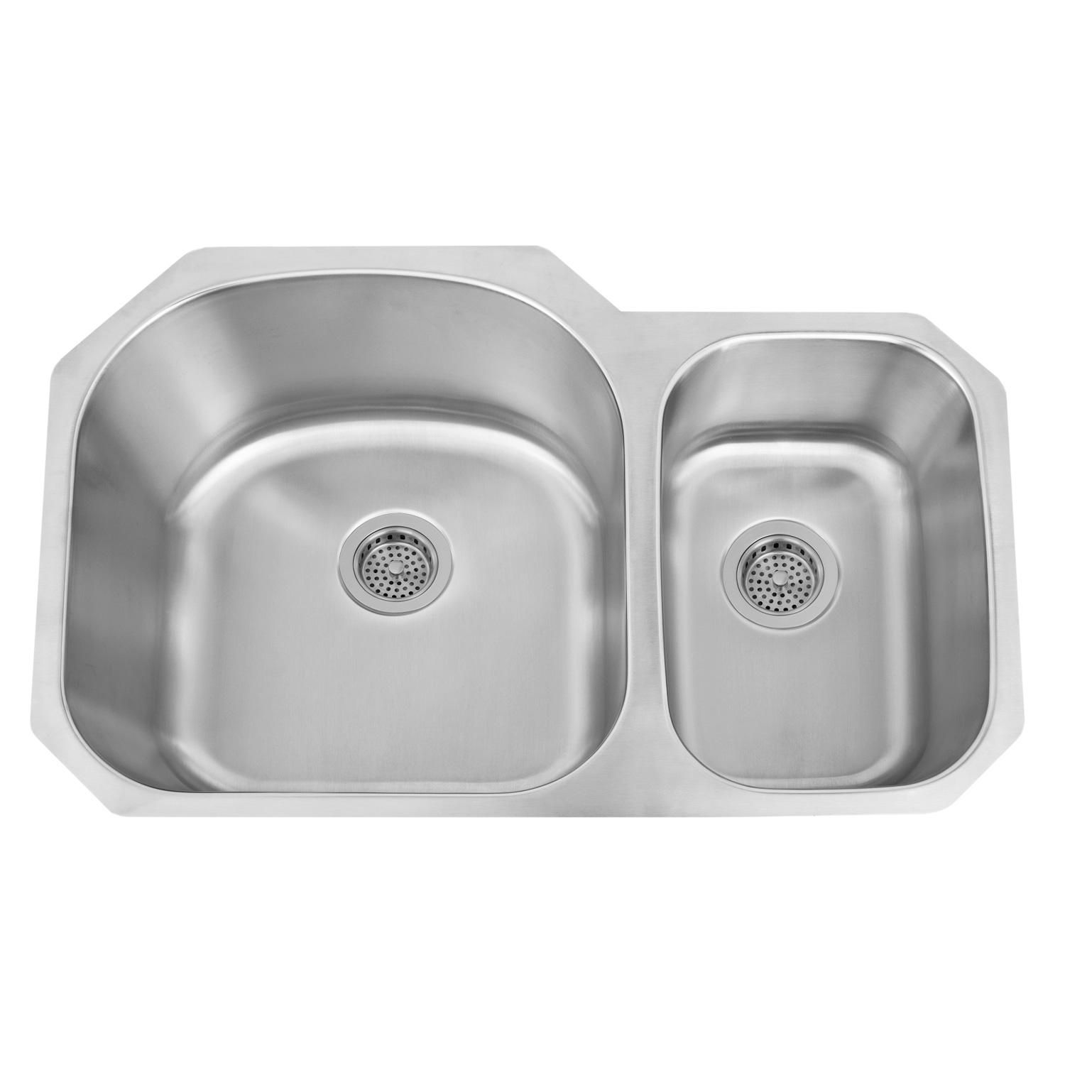 Small Double Kitchen Sinks 32 Infinite D Shaped 70 30 Offset Double Bowl Stainless Steel