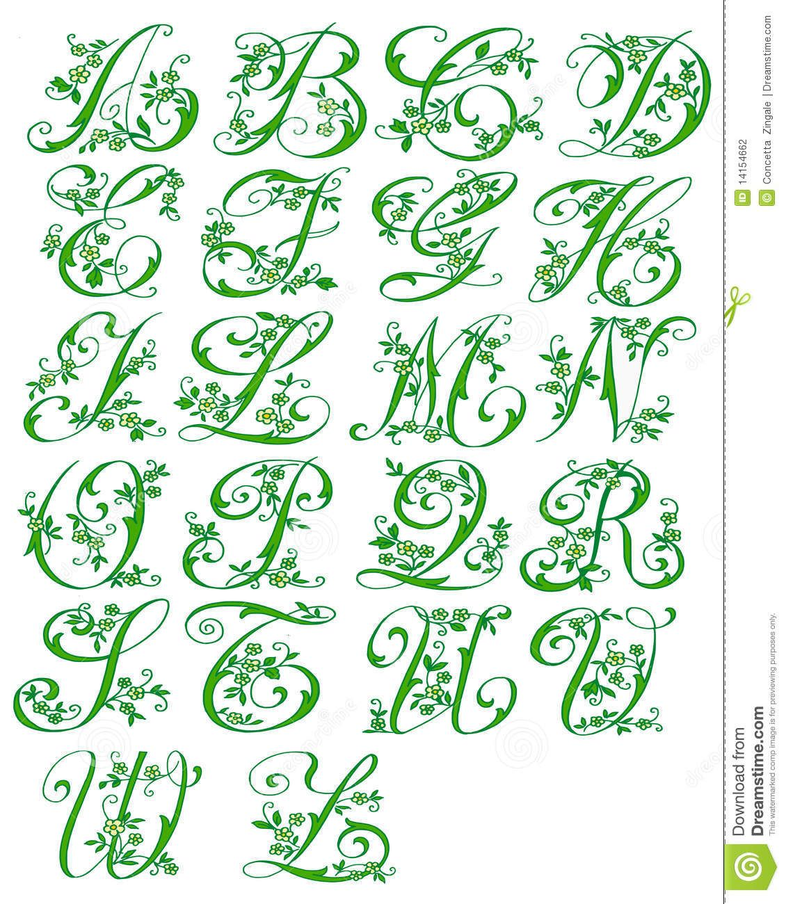 Worksheets Images Of All Alphabet Cursive Letter girlie letter designs the picture shows all letters of alphabet cursive floral stock illustration colors 14154662
