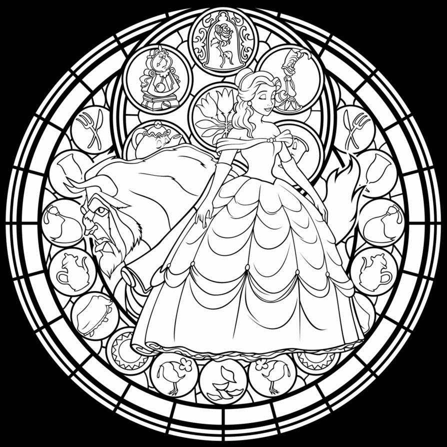 Beauty And The Beast Stained Glass Coloring Page Best Of Belle