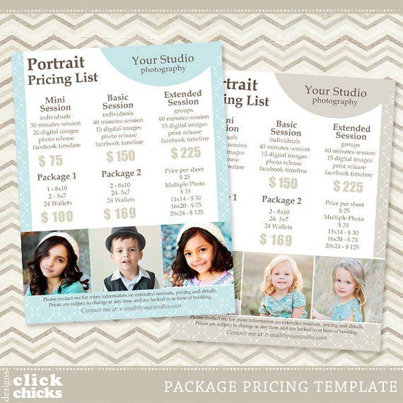Portrait Pricing: Photography Package Pricing List Template
