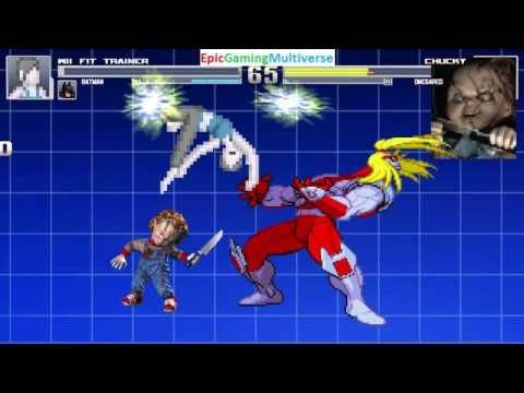 Batman And Wii Fit Trainer VS Chucky The Killer Doll Omega Red In A MUGEN