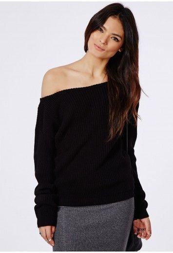 Throw on our awesome black off the shoulder sweater for this ...