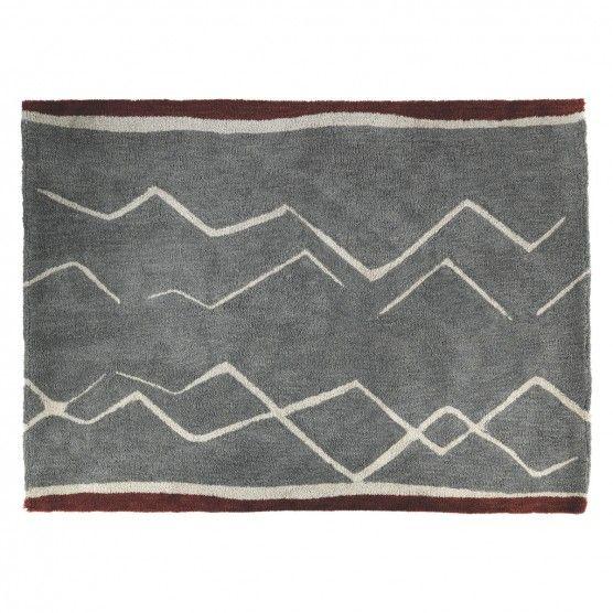 Kotsu Large Grey Patterned Wool Rug 170 X 240cm Interiors