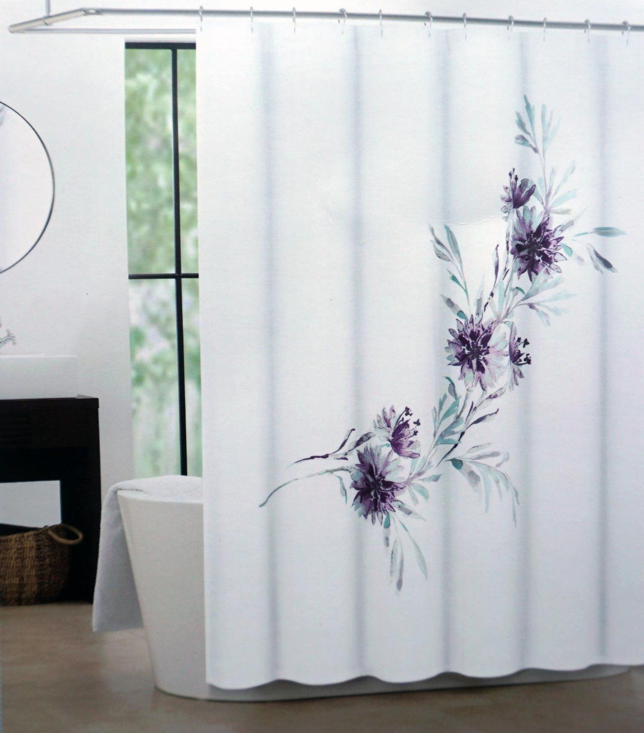 Robot Check Purple Shower Curtain Fabric Shower Curtains Curtains