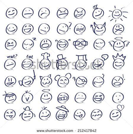 Hand drawn emoticon set