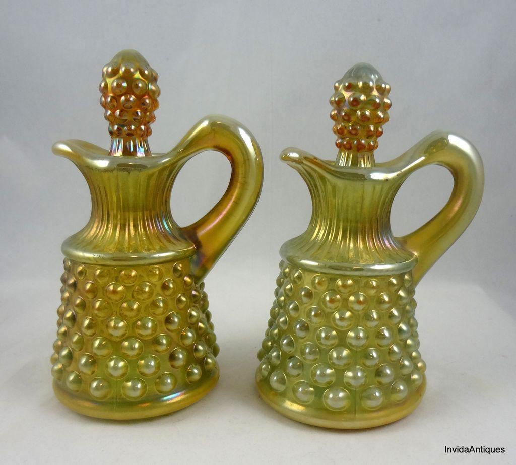 7e721a16998f Pair Fenton Hobnail Carnival Glass Cruet Oil Vinegar Bottles & from ...