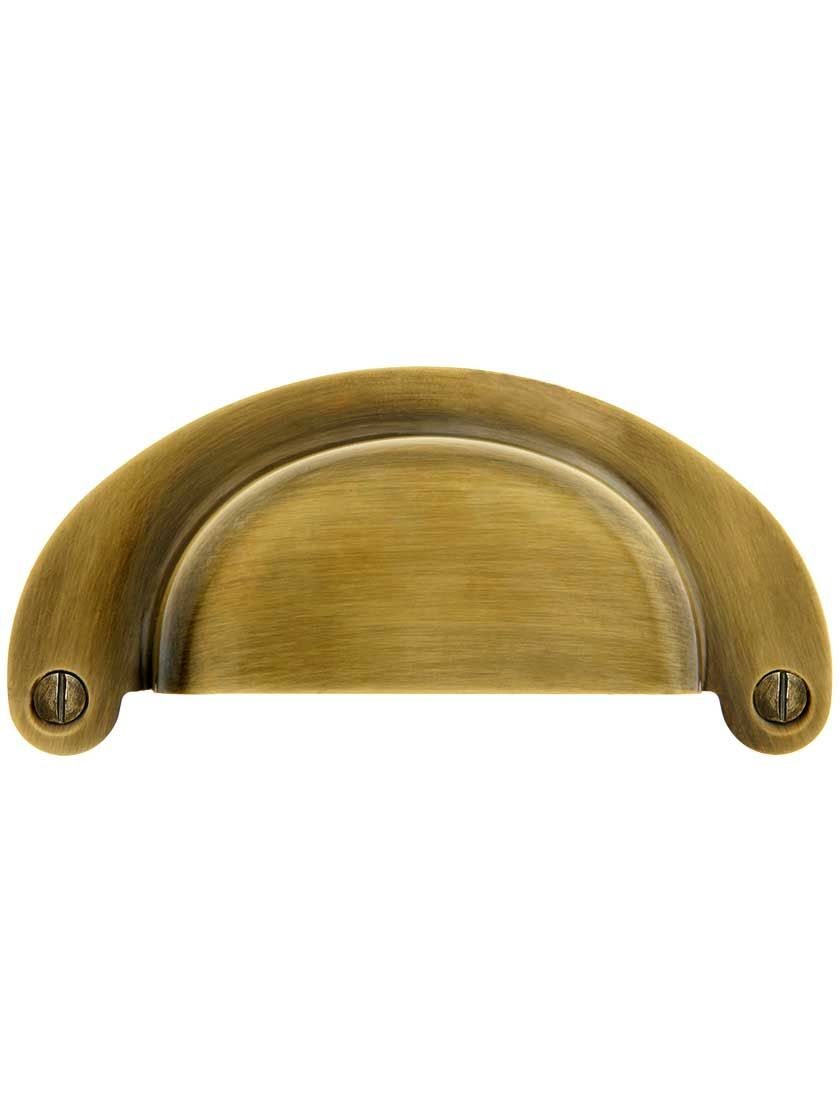 3 1 2 Inch Stamped Brass Cup Drawer Pull In Antique By Hand 3 Inch Center To Center Cup Drawer Pulls Drawer Pulls Antiques