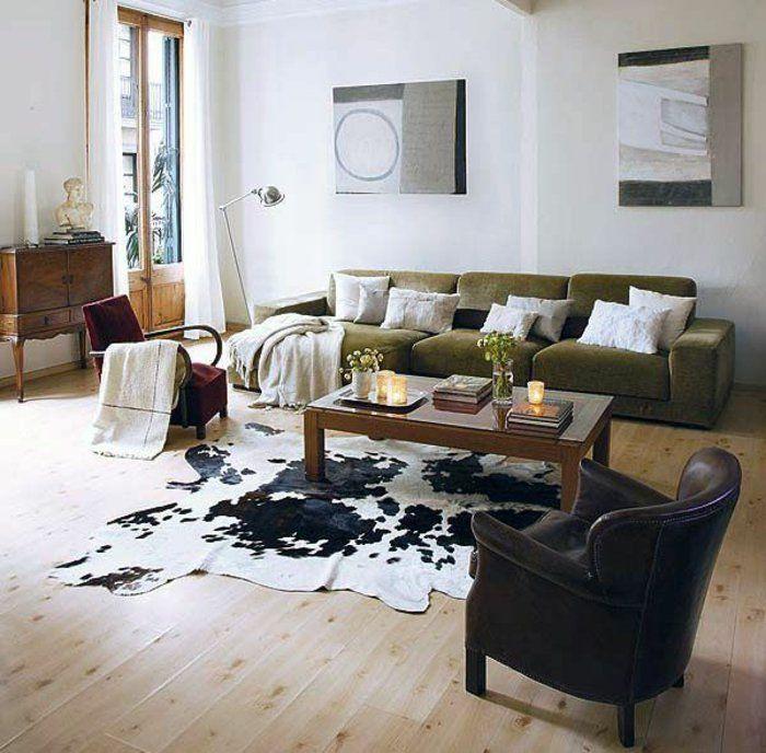 Comment adopter la peau de vache dans linterieur tapis for Tapis de sol avec coussin canapé 70x50