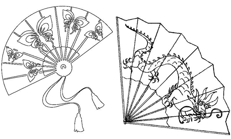 Japanese Fans Japanese Fan Coloring Pages Fan Drawing