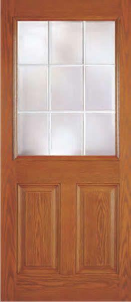 Fiberglass 2 Panel 9 Lite Dual Pane Clear Tempered Glass Flush Glazed Woodgrain Door Store America Wood Exterior Door Tempered Glass Paneling