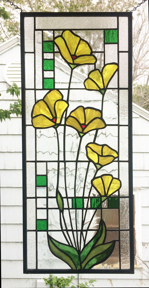 """Yellow Poppies Geometric --Stained glass Panel 10"""" x 23 5/16"""" by StainedGlassArtist on Etsy https://www.etsy.com/listing/286575071/yellow-poppies-geometric-stained-glass"""