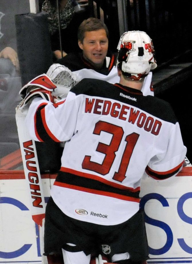 Albany Devils Goalie Scott Wedgewood Tries To Move Up Depth Chart Hockey Game Outfit Gaming Clothes Goalie