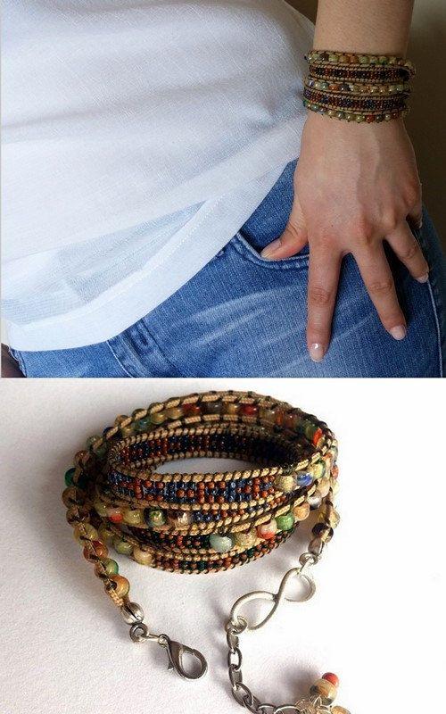 Beadwork Beaded Bracelet Wrap Bracelet 4 or 5 Wrap by GULDENTAKI