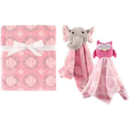 Hudson Baby Girls' Plush Blanket with Security Blankets, 2-Pack, Choose Your Color, Pink