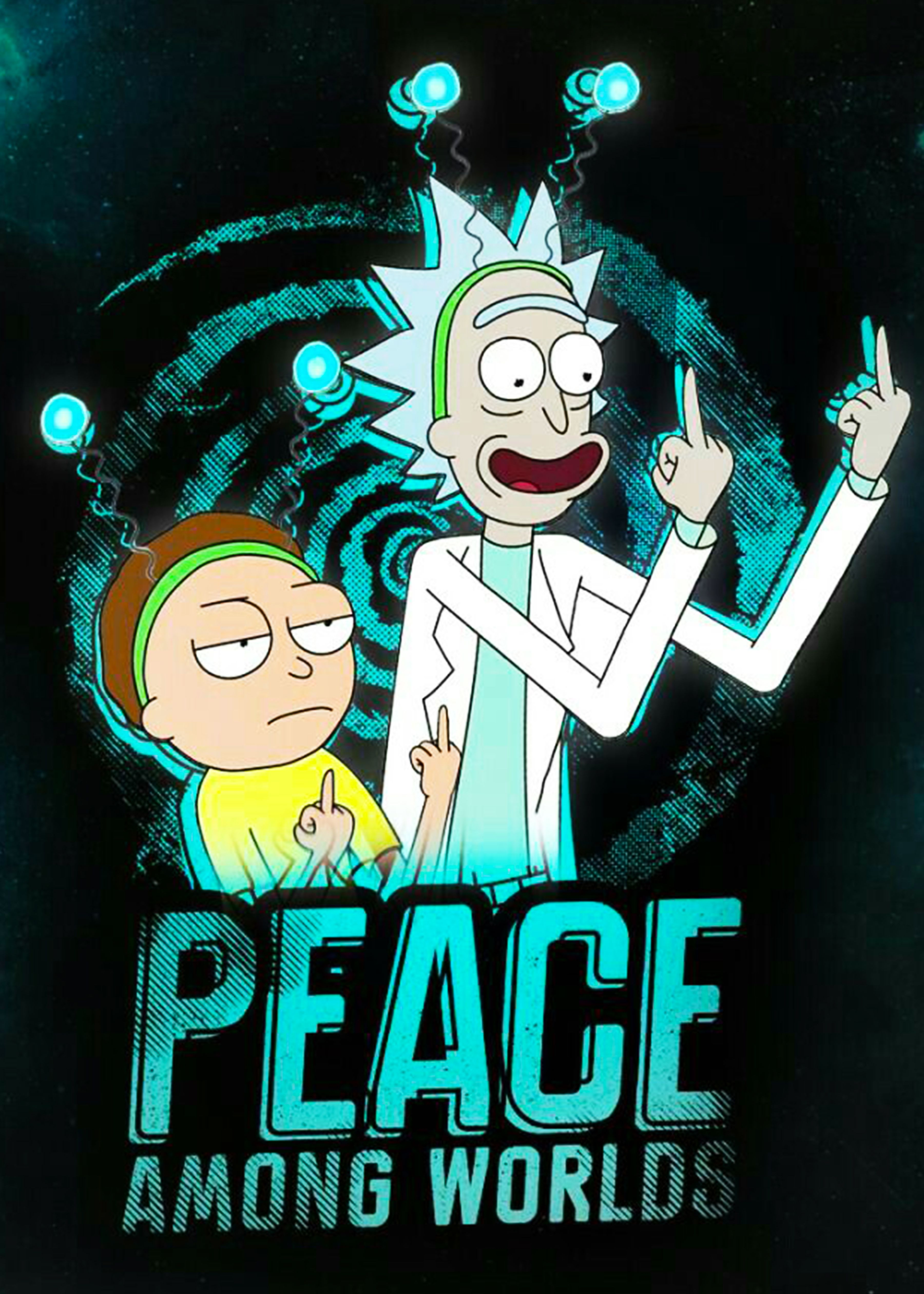 Rick And Morty Peace Iphone Wallpaper Rick And Morty Rick And Morty Poster Rick And Morty Wallpapers