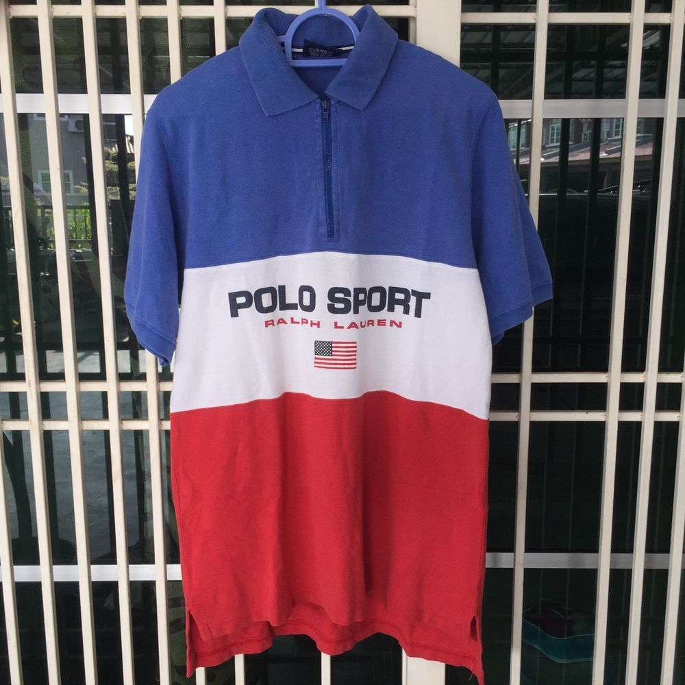 Vintage 90s Polo Sport Ralph Lauren Color Block Half