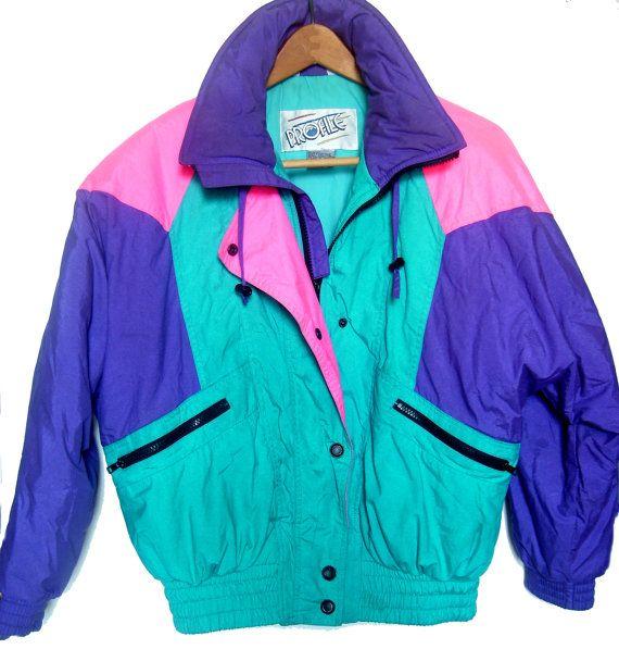 Women S Vintage 80 S Neon Colorblock Ski Jacket Profile Small Ski Jacket Jackets Bomber Jacket Women