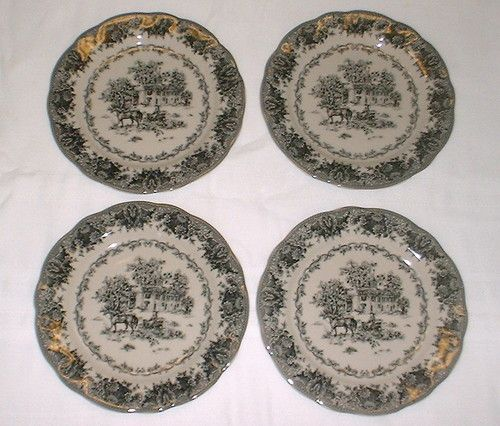 Black Transferware 4 Dessert Plates Set Colonial Virginia Toile Pattern | eBay & Black Transferware 4 Dessert Plates Set Colonial Virginia Toile ...