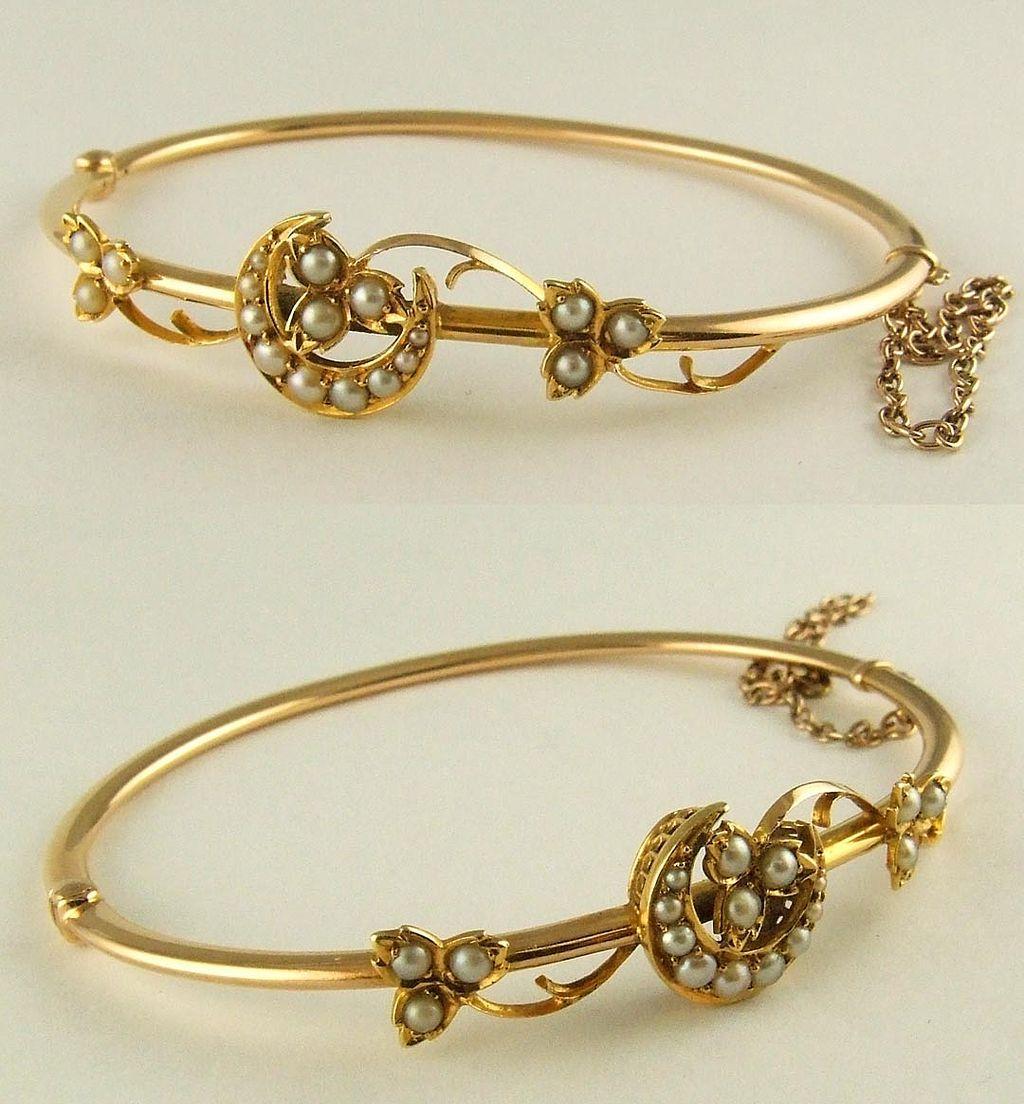 14k Gold Seed Pearl Bangle Bracelet