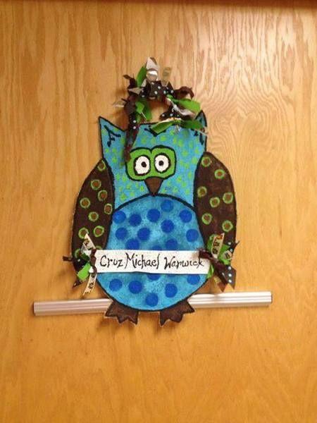 Handpainted Burlap Owl Door Sign