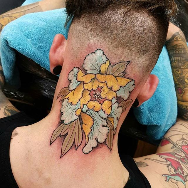 Yesterday S Back Of Neck Back Of Head Peony Thanks Man Tattoo Tattoos Tattooworkers Tattoosnob Tattoolifema Japanese Tattoo Tattoos For Guys Neck Tattoo