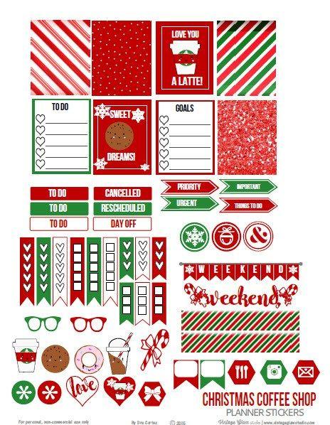 Christmas Coffee Shop Planner Stickers \u2013 Free Printable (Vintage