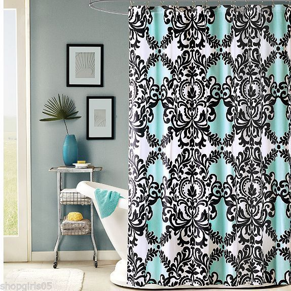 Black White And Aqua DAMASK   Mia Shower Curtain NEW Fleur De Lis   Beautiful!
