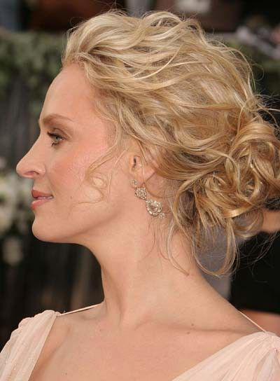 Uma Thurman\u0027s wavy chignon is a sexy way to wear wavy hair. Steal her  style 1. Work a curl,enhancing lotion through damp hair and blow dry with  a diffuser,