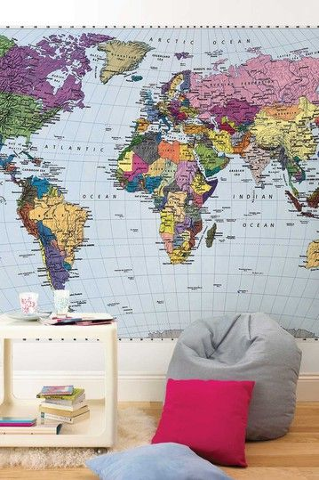 Komar world map wall mural by wow your walls murals decals and selection of map wall murals and wallpaper maps world map murals for homes and businesses classroom map murals are a valuable classroom resource for gumiabroncs Choice Image