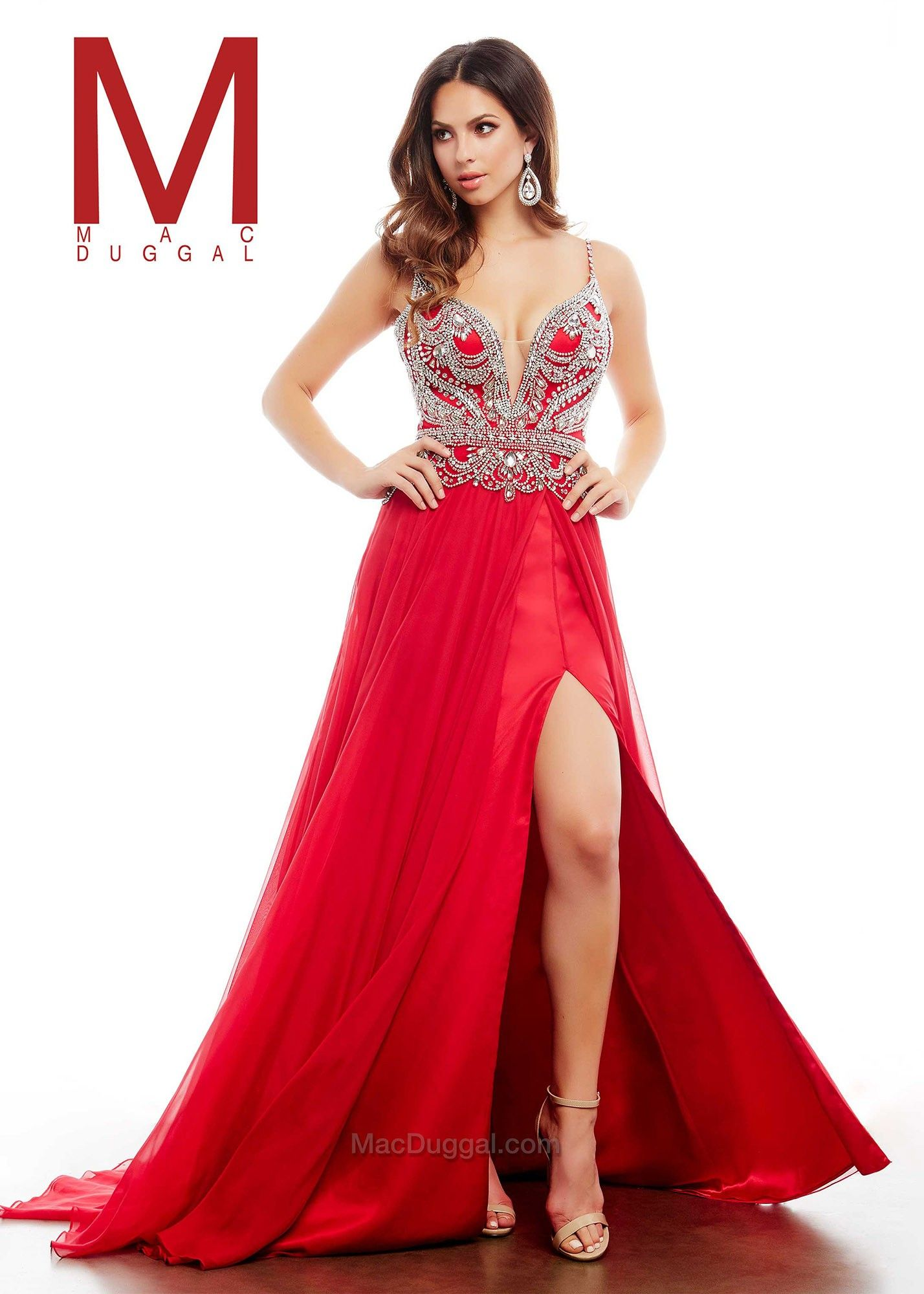 Mac duggal a red glitzy jeweled aline evening gown things to