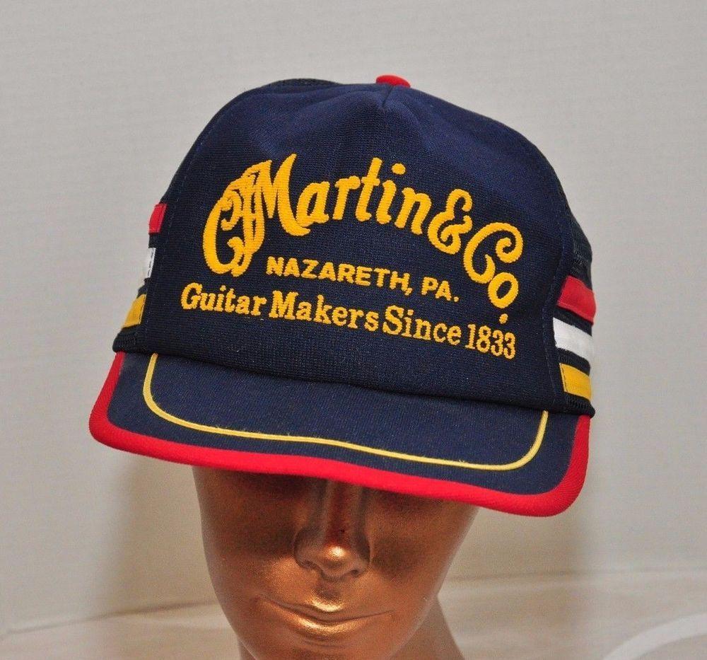 Vintage CF Martin Guitars Pa. Trucker Mesh Snapback Hat Ball Cap Blue  Cap e48902baaff5