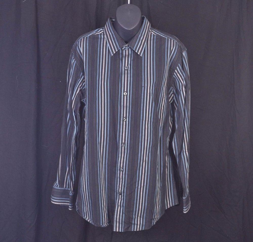 Pict j ferrar modern fit 1 - Details About J Ferrar Modern Fit Black Blue Stripes Long Sleeve Button Up Shirt Mens Large 16