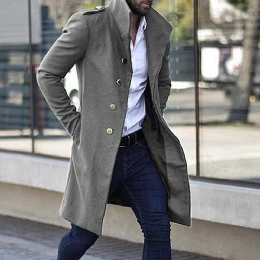 Trench Coat Fashion Men/'s Jacket Winter Warm Wool Coat Outwear Long Overcoat