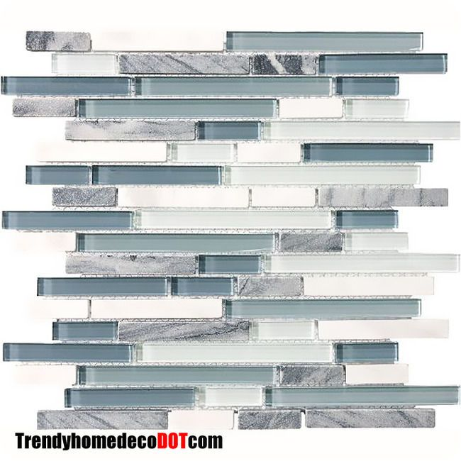 Sample  Blue White Marble Glass Mosaic Tile Kitchen Backsplash Bath Wall  Sink In Home U0026