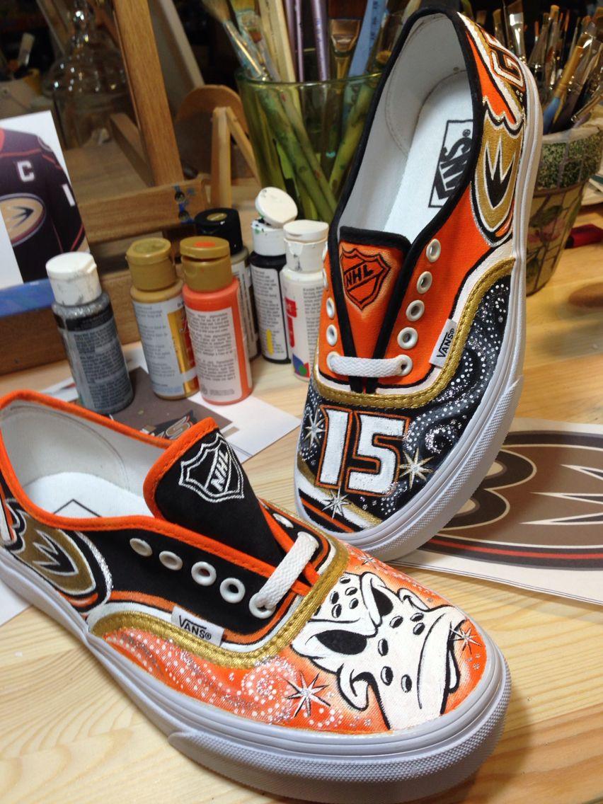 Custom Vans Hand Painted In A Anaheim Ducks Getzlaf Theme By Karin Lamson Art By Karin Duck Shoes Custom Shoes Vans Classic Slip On Sneaker