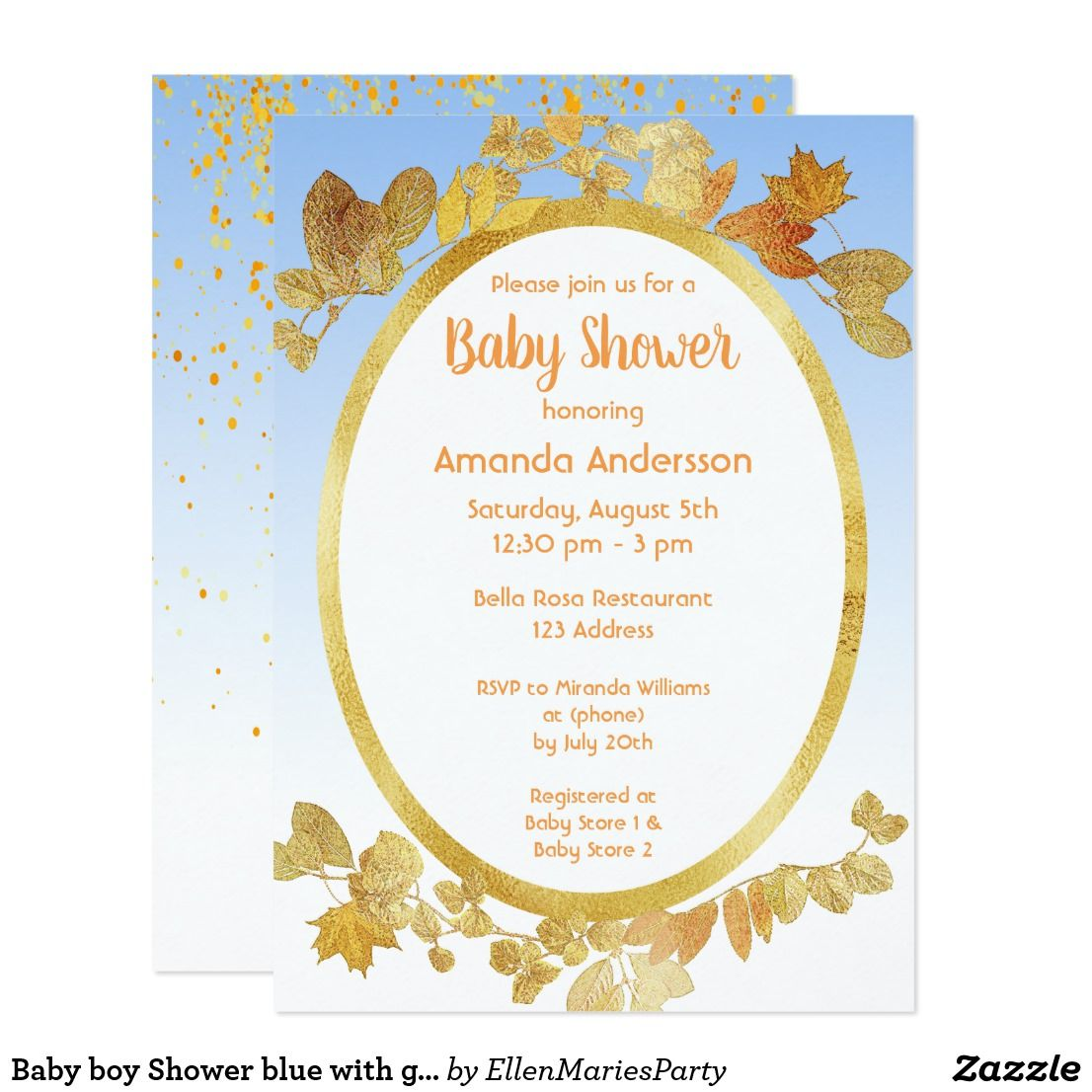 Baby Boy Shower Blue With Gold Frame And Leaves Invitation