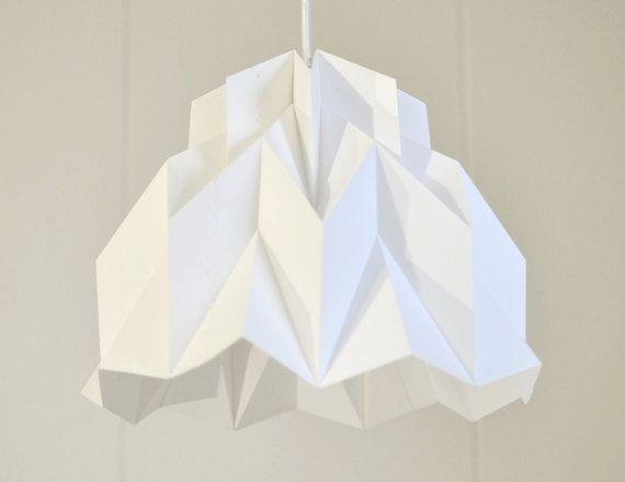 Lampada Origami Istruzioni : Ruffle origami paper lamp shade white fiberstore by fiber lab