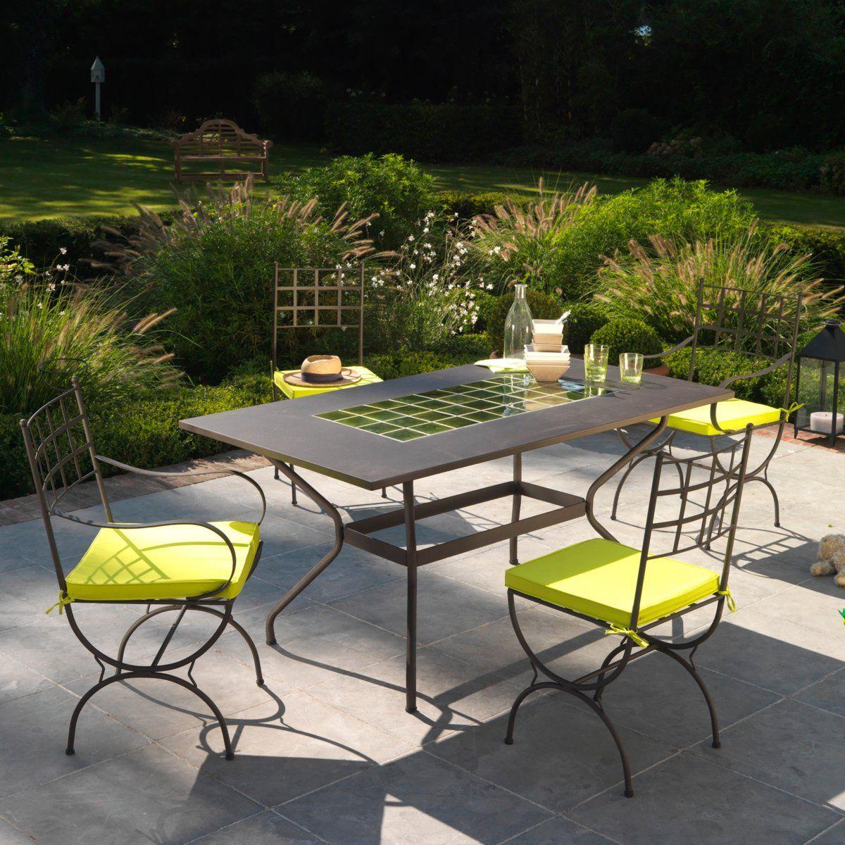 table de jardin fer forg et cramique 6 8 couverts prix promo la redoute 32999 ttc - Promo Table De Jardin