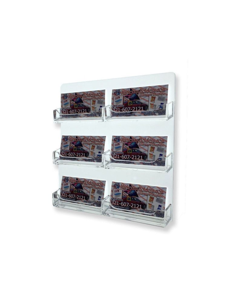 6 Slot Business Card Wall Rack Lot Of 12 Clear Display Acrylic
