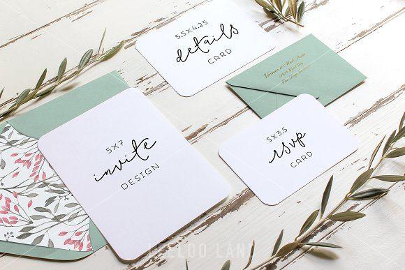 Rustic Wedding Suite Mockup Olive 3 By Leeloo Land On