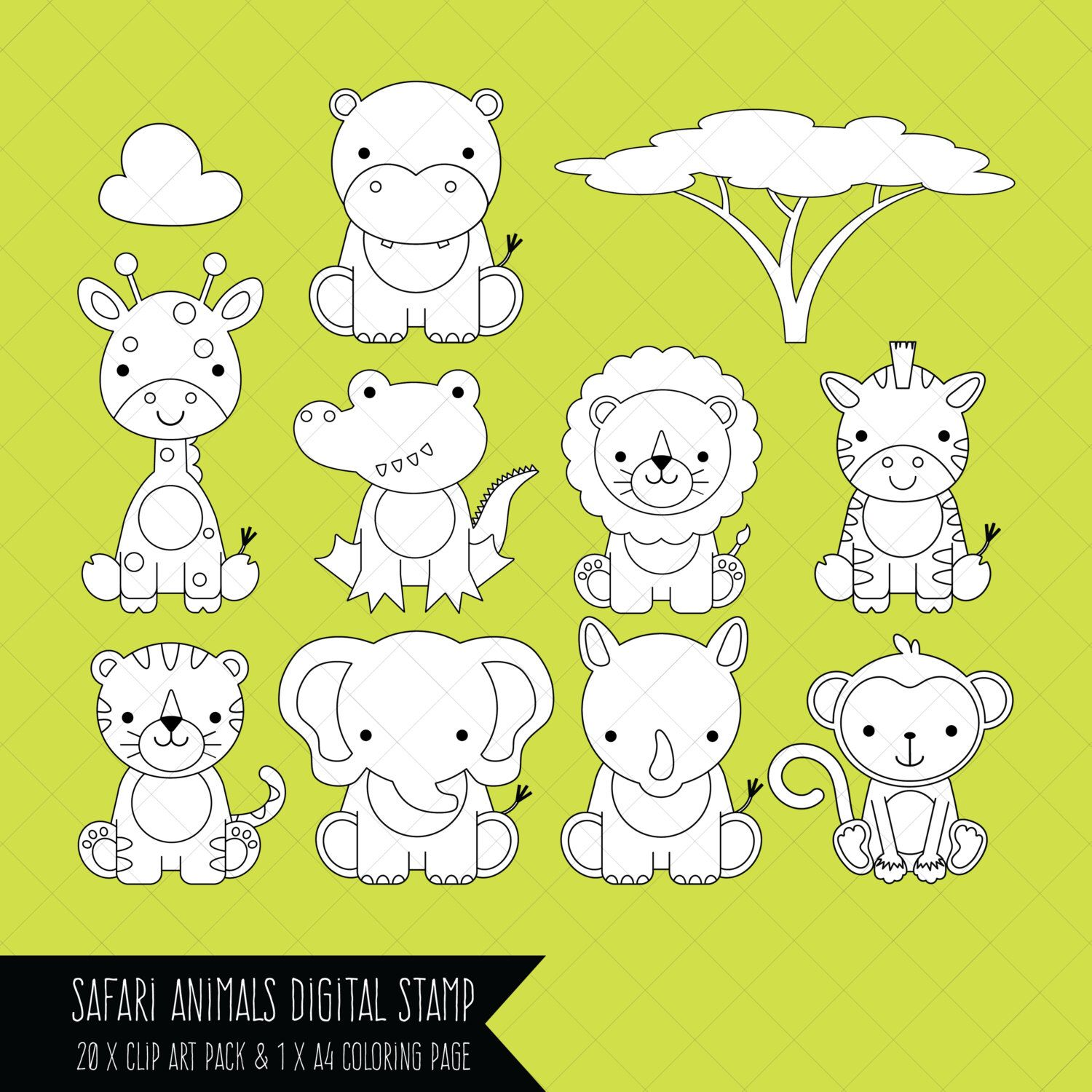 Safari Baby Animals Clipart / Digital Stamps / Coloring Page ...