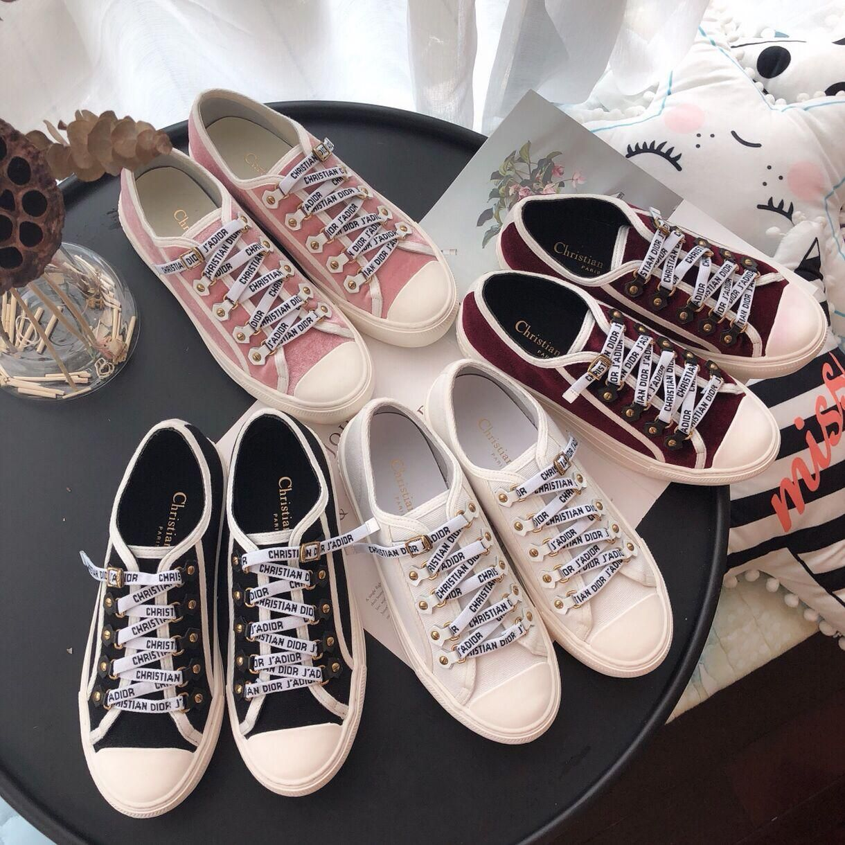 e8c4f4080d1b DIOR WALK N DIOR VELVET TRAINER   LOW-TOP CANVAS TRAINER from Love Vip  Fashion. Saved to shoes shoes shoes👠👡.