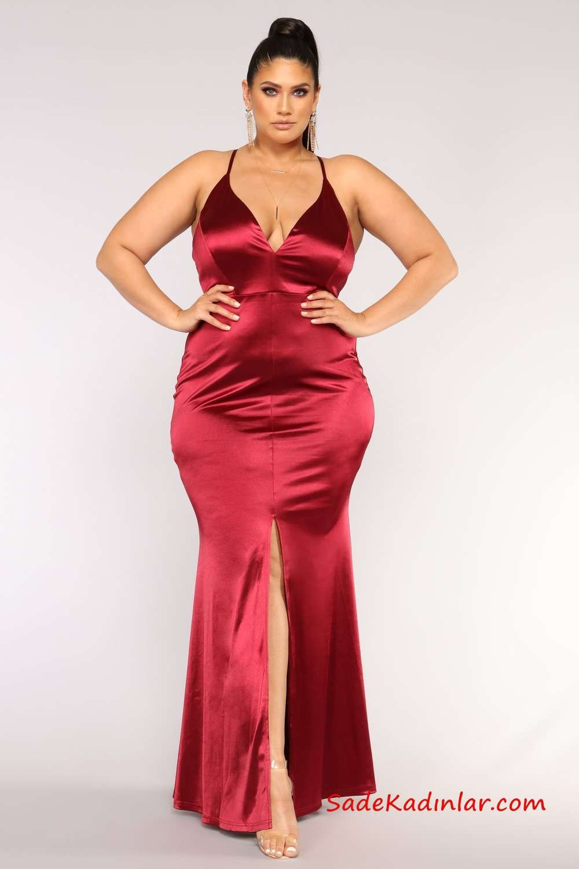 3092290fc832e Büyük Beden Gece Kıyafetleri Kırmızı Saten Uzun Askılı Yırtmaçlı Abiye  #plussize #plussizedresses #plussizefashion