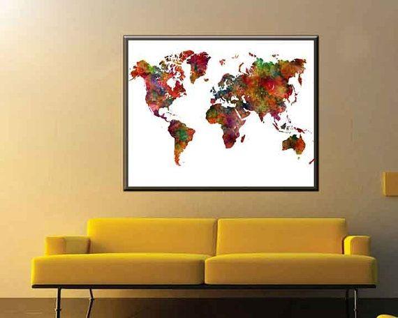 Large world map poster world map large map art world by danijarts black and white world map monochrome art world map art world map wall art black and white map poster black and white large world map gumiabroncs Choice Image