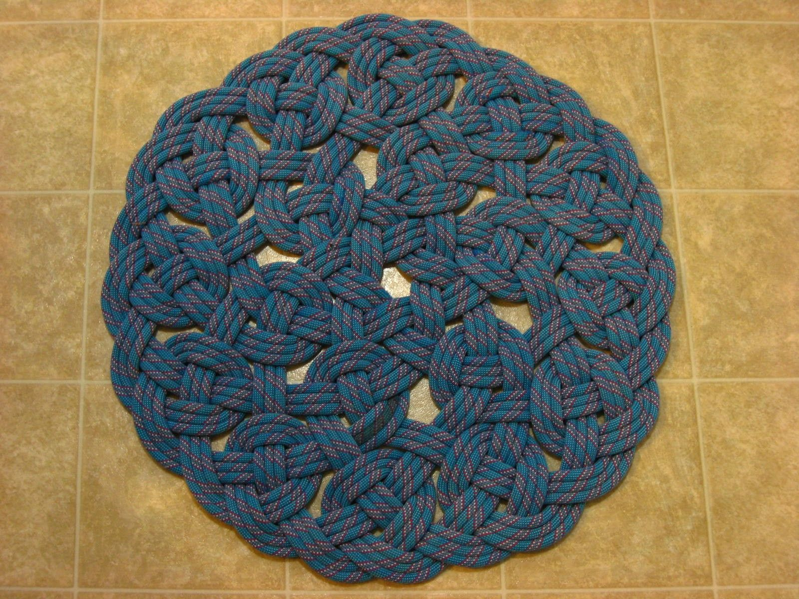 Handwoven Rug Made From ( YOUR ) Recycled Climbing Rope Aproximately 27  Inch Diameter