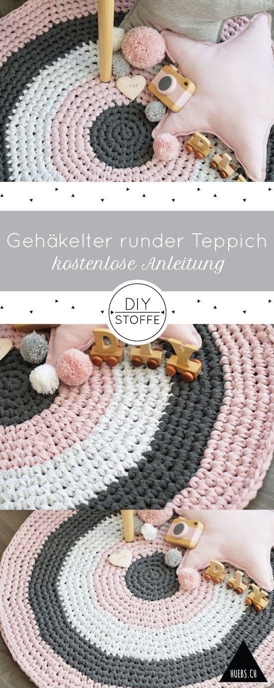 Gehäkelter runder Teppich - Anleitung | Pinterest | Diy teppiche ...